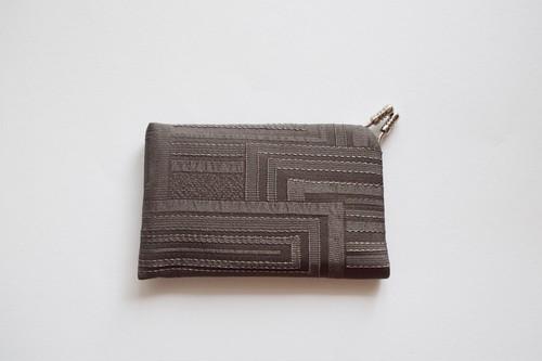 フィルタンゴ カードケース カーキ 京都 丹後の絹織物 レトロモダンな幾何柄