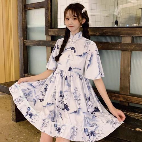 【ワンピース】中国風レトロ少女プリント半袖カジュアルワンピース