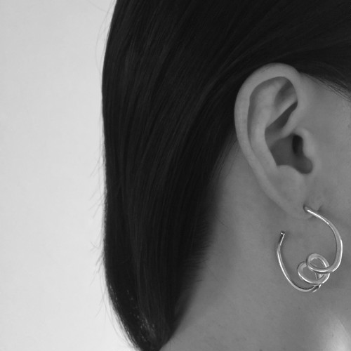 Coil hoop pierced earrings