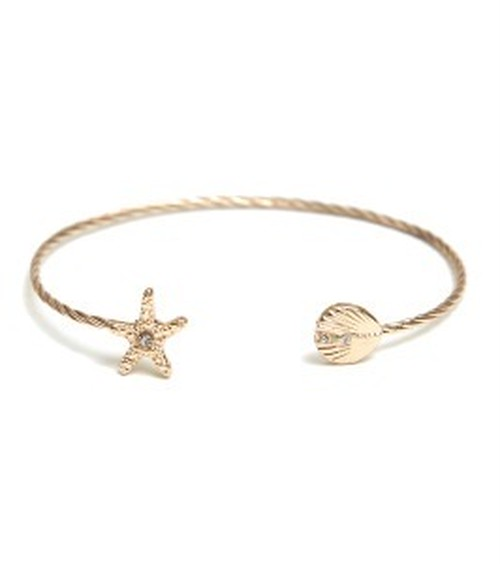 Starfish & Shell W stone Bangle (XB0358)