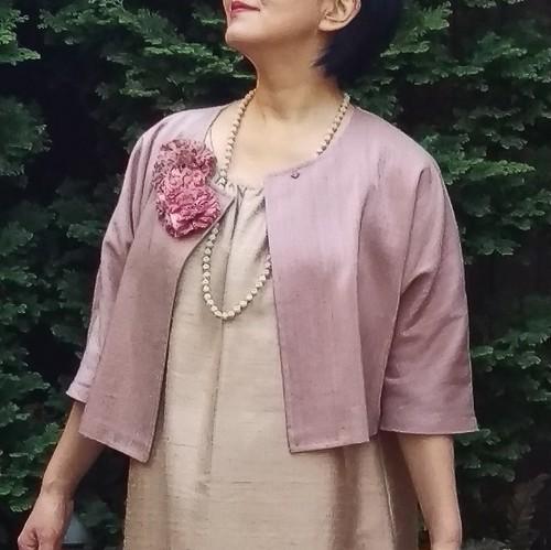 草木染手織りシルク 七分袖ボレロジャケット