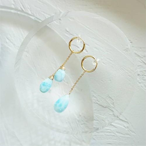 送料無料14kgf*Larimar Asymmetric earring / pierced earring