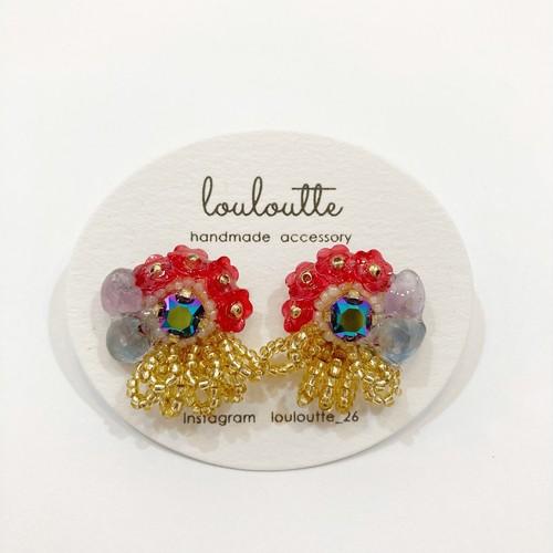 【louloutte】花びらつぶピアス(パープルグリーン×イエロー)