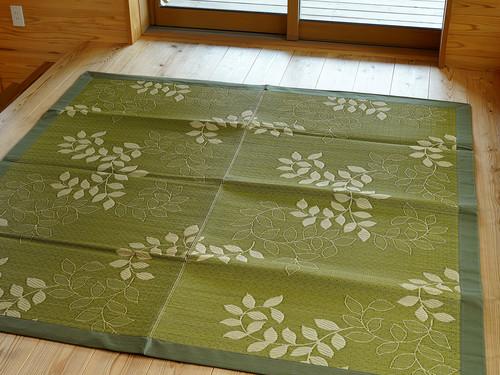 福岡花ござラグ 袋織 広縁 あおば グリーン
