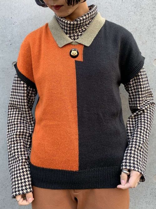 (TOYO) design french sleeve knit