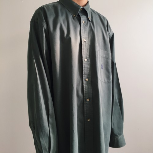 Green One Point Pocket Long Sleeve Shirt