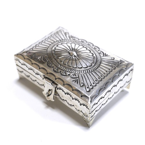 Navajo Vintage Sterling Silver Stamp Jewelry Box by Suzie James