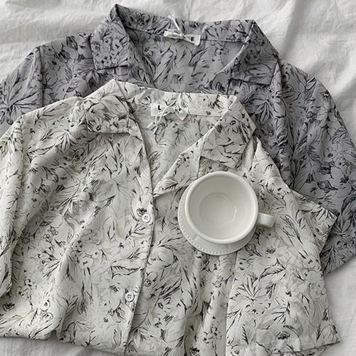 カジュアル オシャレ 折り襟 半袖 新作 花柄 シャツ・トップス