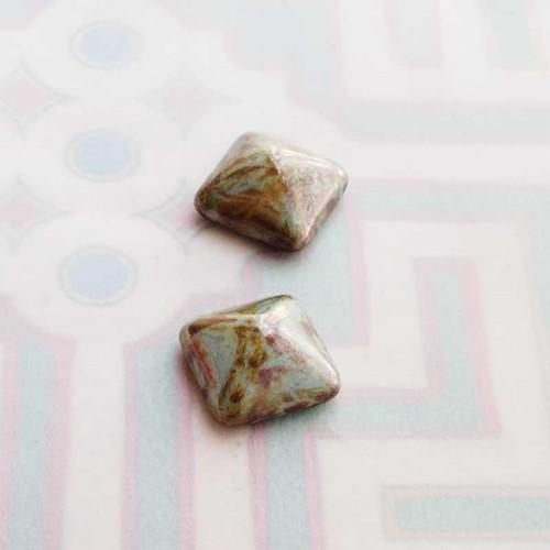 ヴィンテージ チェコの四角い不透明なマーブルガラス(2コ)