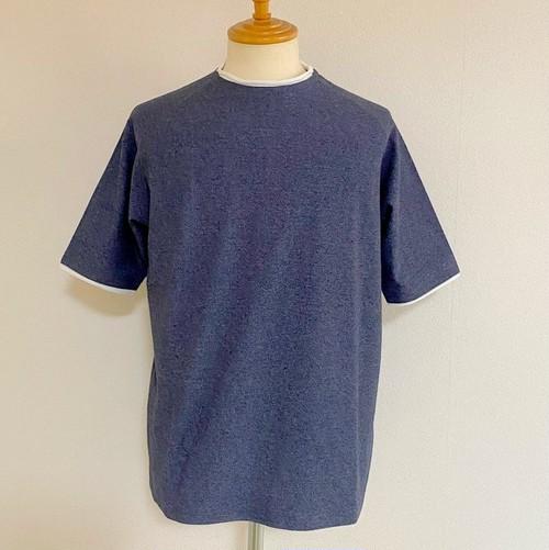 Ripple JQ Role Neck T-shirts Navy Moku