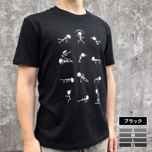 ハッスルがいこつTシャツ[コアマッスル]【ブラック・4サイズ】