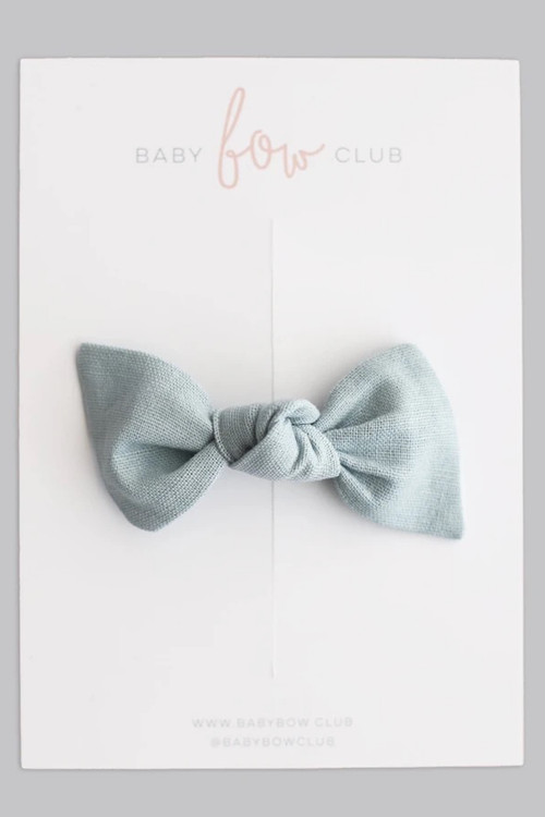 BABY BOW CLUB Dusty Blue Linen  // Clip