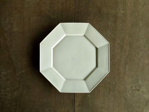 八角リム皿 白L