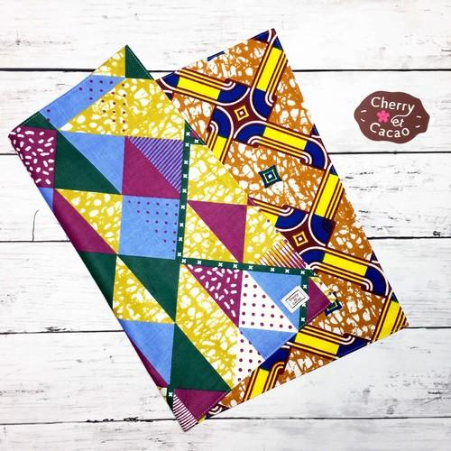 ランチョンマット  アフリカンテキスタイル リバーシブル(日本縫製) カラータイル x ラピス |アフリカ エスニック ガーナ布