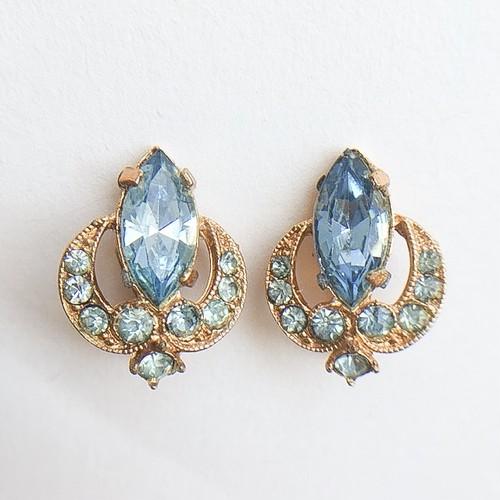 """BOGOFF"" blue rhinestone earring[e-659]"
