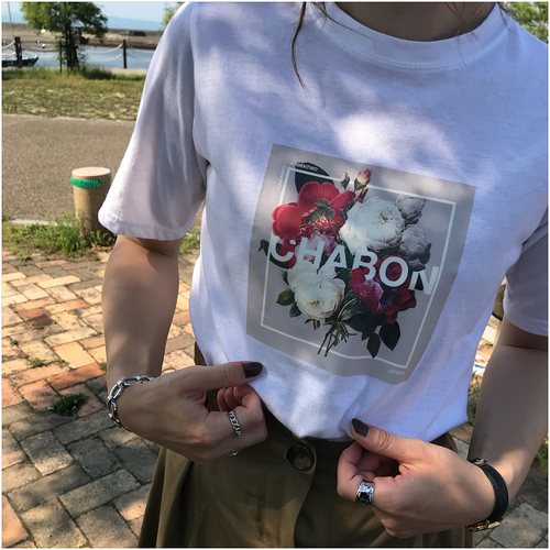flower print T-shirt #2 white