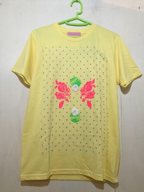 【MIYANISHIYAMA】お花とプリントTシャツ キイロ