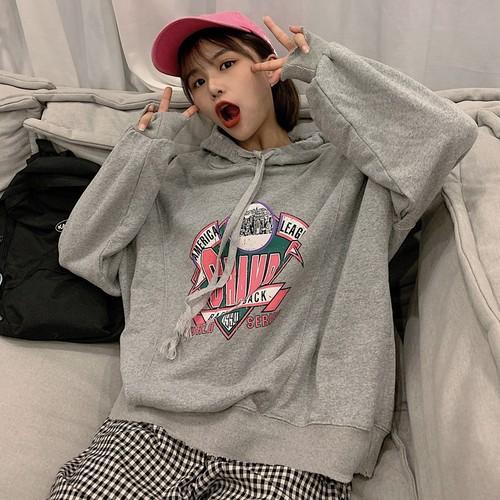 【トップス】韓国風新作insファッション個性的プリントフード付きパーカー