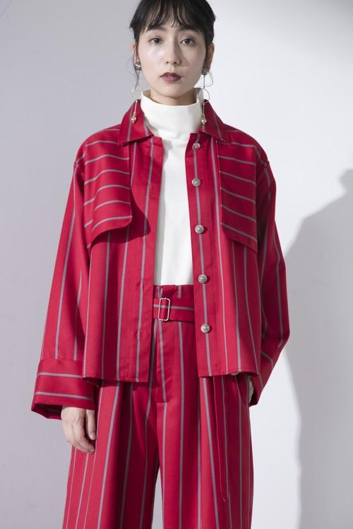 stripe wool shirt blouson