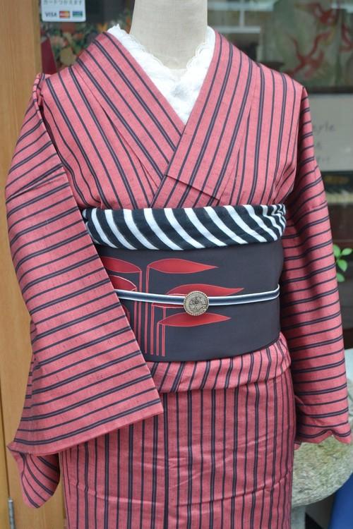 赤と黒の縞ストライプ☆紬