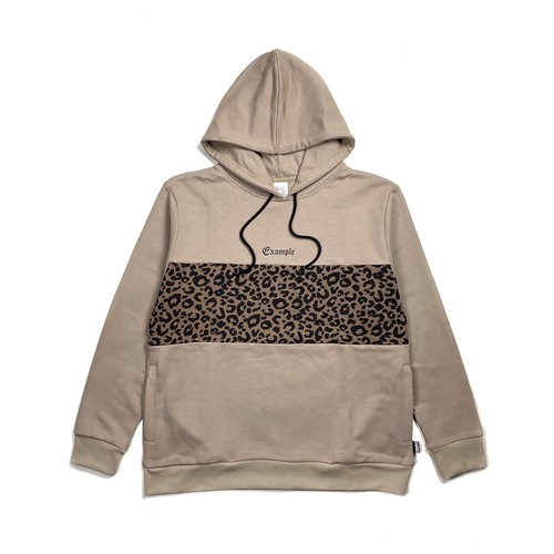 CENTER LEOPARD SWEAT HOODIE / BEIGE
