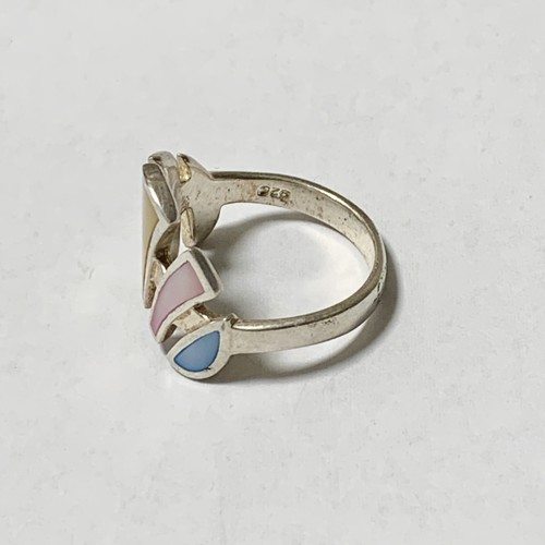 Vintage Shell Inlay Silver Ring Made In Thailand ①