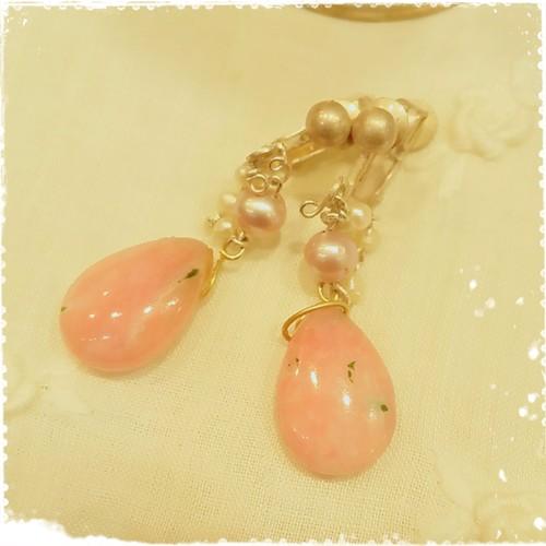 ピンクオパール~桜まう~ピアス♪10月誕生石