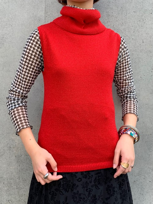 (TOYO) lib knit turtle neck n/s tops