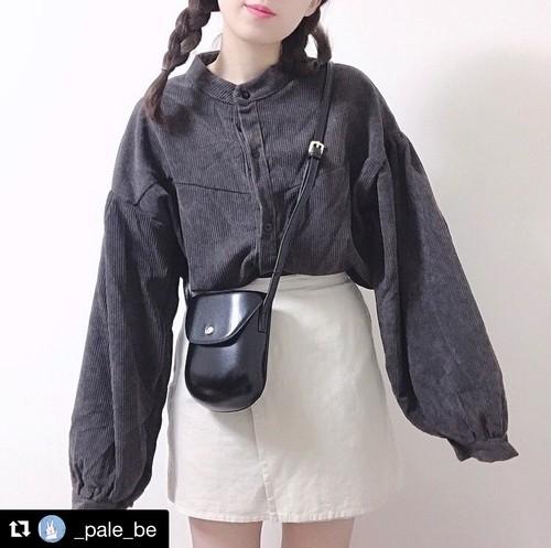 【送料無料】バルーン袖がかわいい♪コーデュロイジャケット  アウター スタンドカラー