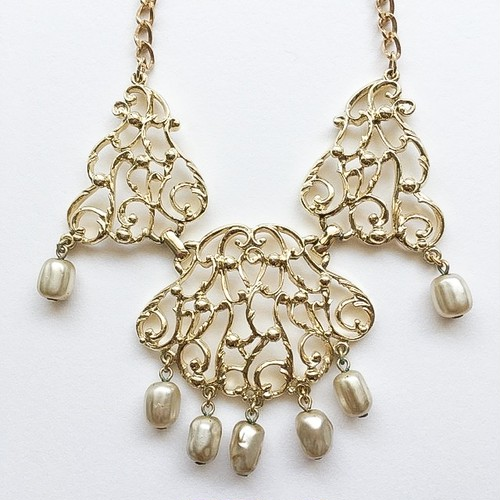"""SARAH COV"" gold filigree pearl necklace[n-181]"