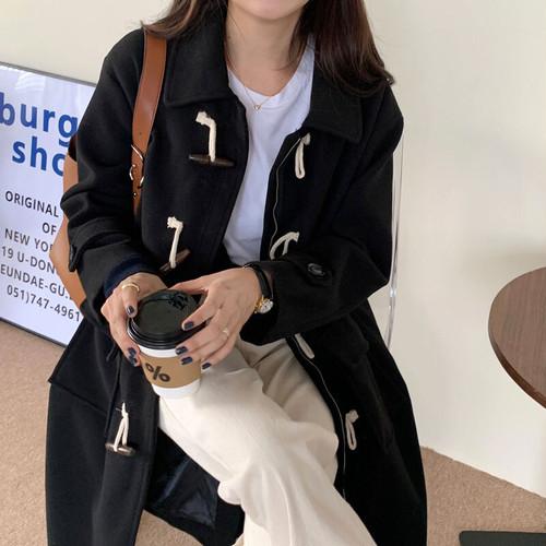 ダッフルコート ロング丈 ジッパー付き シンプル 秋 冬 防寒 レディース ファッション 韓国 オルチャン