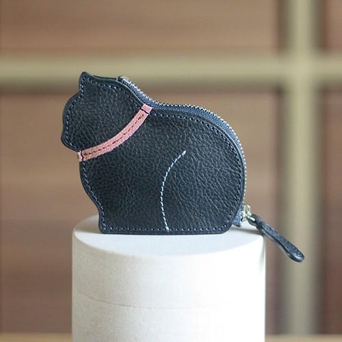 お座り子猫のコインケース・ネイビー /ピンク[クリスマスラッピング無料]