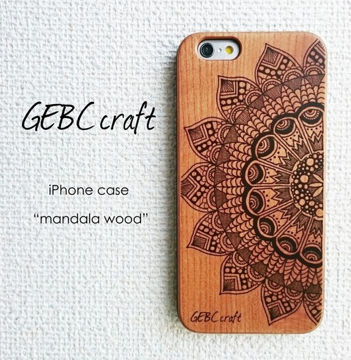 【iPhone】オリジナルスマホケース、カバー「mandala wood」