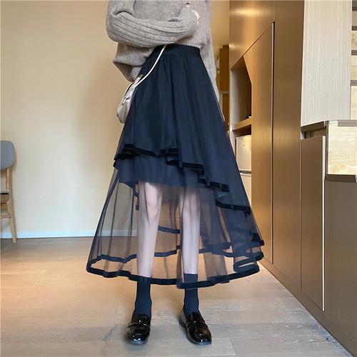 2色/ティアードヘムスカート ・15606