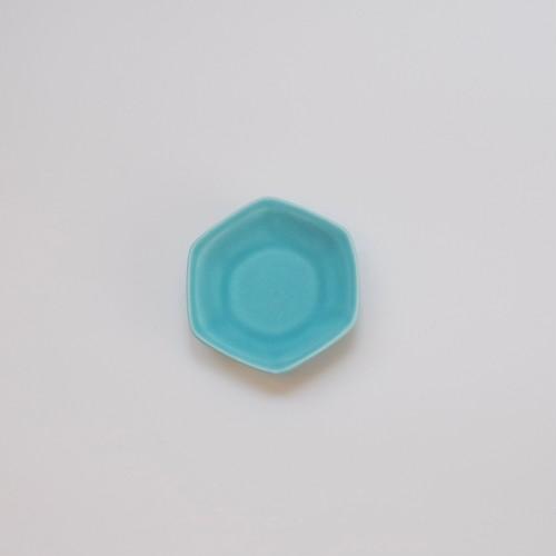 豆皿 六角 ターコイズ