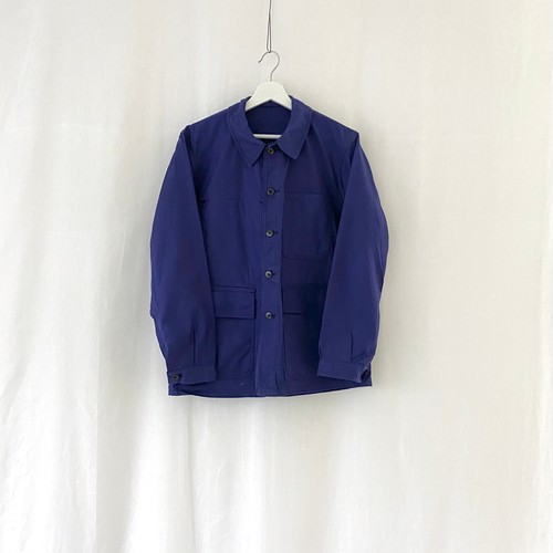 """FRANCE 70s vintage""""FRENCH ARMY""""ink blue cotton twill work jacket Manufactured by O.D.FLERS-DEAD STOCK/ONE WASHED-"""