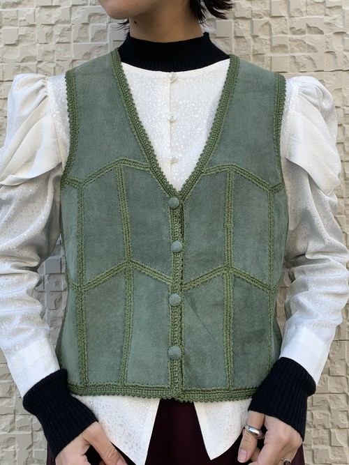 (TOYO) leather patchwork vest