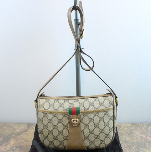.OLD GUCCI GG PATTERNED SHERRY LINE SHOULDER BAG MADE IN ITALY/オールドグッチGG柄シェリーラインショルダーバッグ 2000000036267