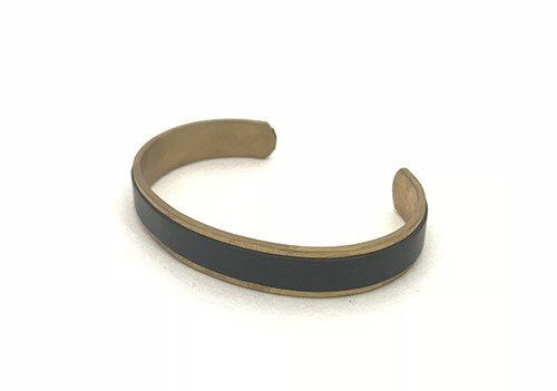 RE.ACT Buttero Leather Rail Bangle  Black