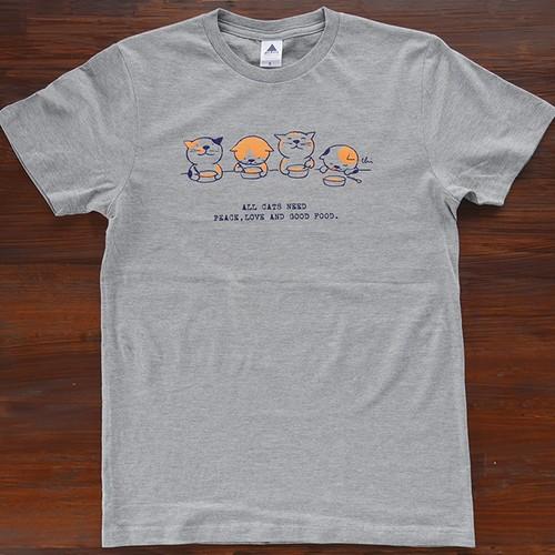 にゃんきーとすTシャツ「ごはん」ヘザーグレー