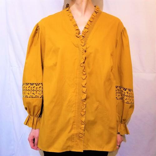 Frill collar balloon sleeves blouse [K-1430]