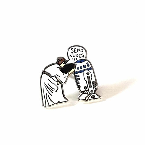 """OTHER WORLD""""Send Nudes lapel pin"""""""