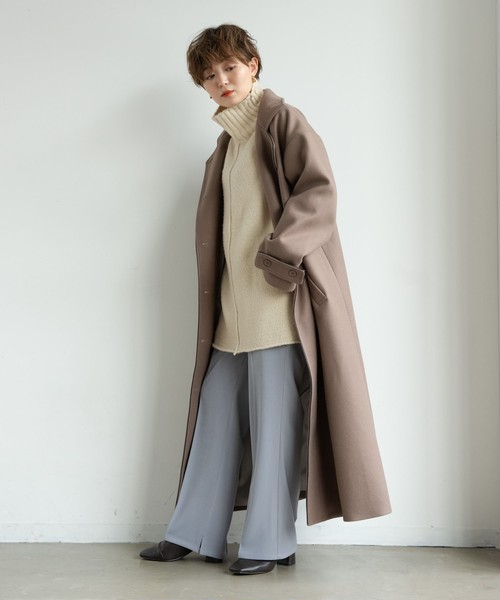 【yukichi.】classical piping long coat/MOC