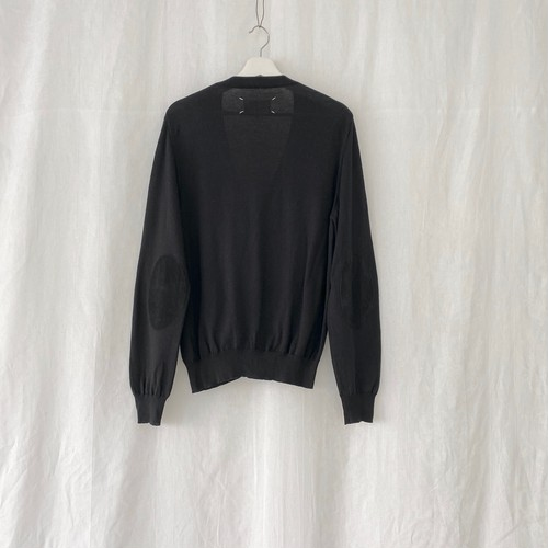 MAISON MARTIN MARGIELA 14 elbow patched cotton cardigan black×black suede