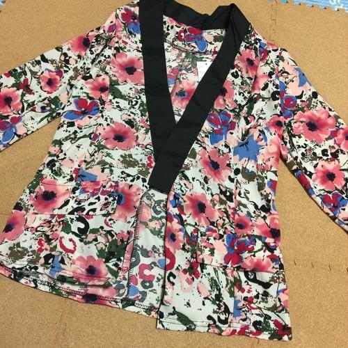 花柄七分袖カーデジャケット
