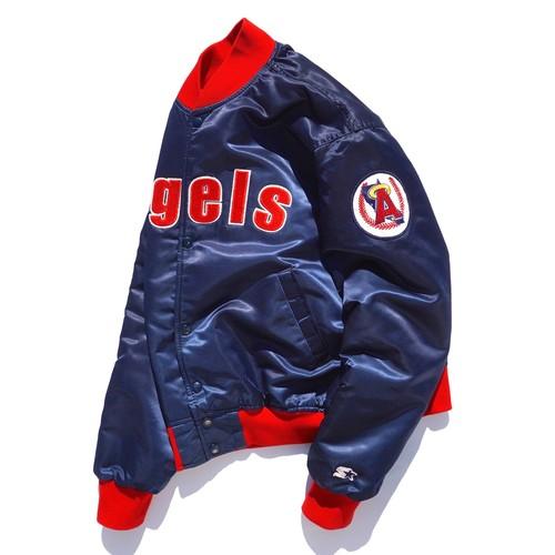 "1990's USA製 [STARTER] MLB ""ロサンゼルス・エンゼルス"" ナイロンサテンスタジャン ネイビー×レッド 表記(M) Angels ヴィンテージ"
