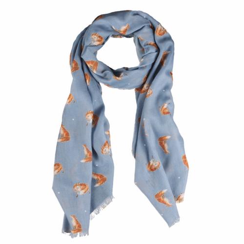 SCF002 スカーフ きつね/ディープブルー