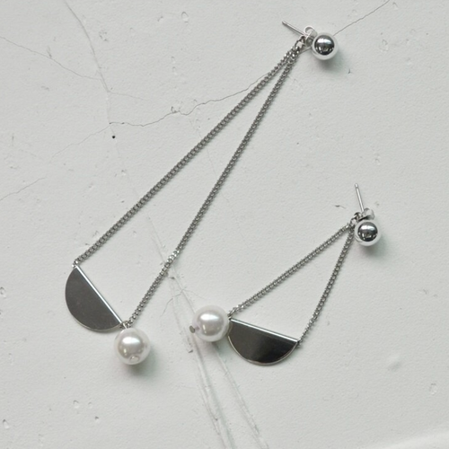 【silver】pendant drop pearl pierce 〜ペンダントドロップパールピアス〜
