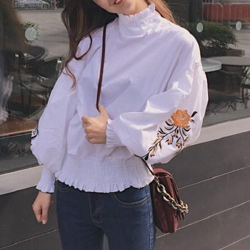 [送料込] フラワー 刺繍 バルーン袖 ブラウス ホワイト ボレロ