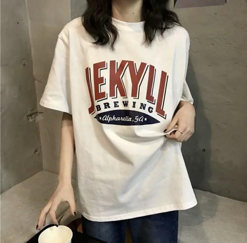 デイリーユース♡ ゆるカワ オーバーサイズ  メンズライク Tシャツ カジュアル トップス ラウンドネック ロゴ